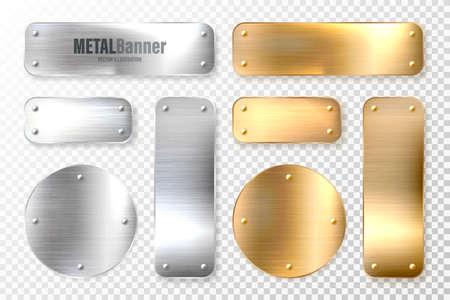 Realistic shiny metal banners set. Brushed steel and copper plate. Polished silver metal surface. Vector illustration.
