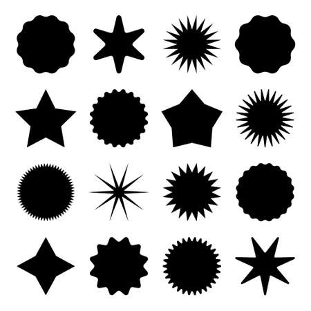 Retro stars, sunburst symbols. Vintage sunbeam icons. Black shopping labels, sale or discount sticker, quality mark. Special offer price tag, promotional badge. Vector illustration. Stock Illustratie