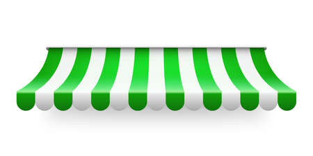 Green shop sunshade isolated on white background. Realistic striped cafe awning. Outdoor market tent. Roof canopy. Summer street store. Vector illustration.