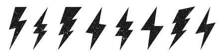Lightning bolt icons with grunge texture isolated on white background. Vintage flash symbol, thunderbolt. Simple lightning strike sign. Vector illustration. Stock Illustratie