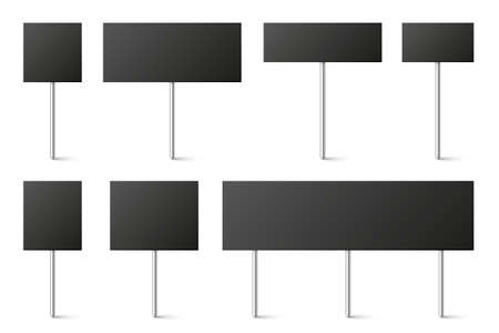 Black blank board with place for text, protest signs set isolated on white background. Realistic demonstration or advertising banner. Strike action cardboard placard mockup. Vector illustration.