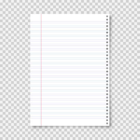 Realistic blank lined paper sheet in A4 format on transparent background. Notebook page, document. Design template or mockup. Vector illustration. Stock Illustratie