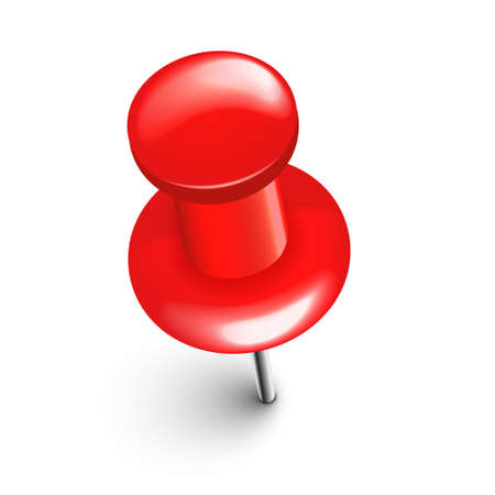 Realistic red push pin. Board tack isolated on white background. Plastic pushpin with needle. Vector illustration.