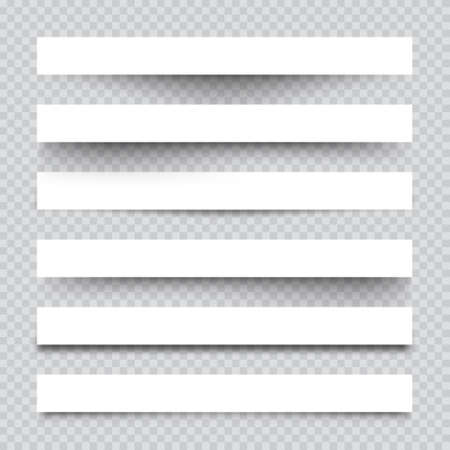 Set of white blank paper scraps with shadows. Page dividers on checkered background. Realistic transparent shadow effect. Element for design. Vector illustration.