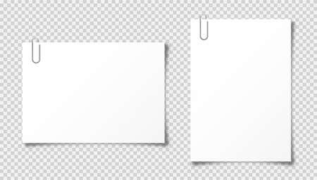 Realistic blank paper sheet in A4 format on transparent background. Notebook page, document with steel paper clip. Design template or mockup. Vector illustration.