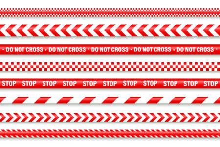 Realistic red barricade tape. Police warning line. Danger or hazard stripe. Under construction sign. Vector illustration. Stock Illustratie