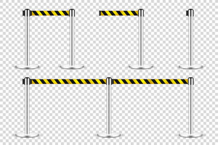 Realistic retractable belt stanchion on transparent background. Crowd control barrier posts with caution strap. Queue lines. Restriction border and danger tape. Vector illustration.