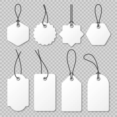 Realistic price tags collection. Special offer or shopping discount label. Retail paper sticker. Blank promotional sale badge. Vector illustration. Stock Illustratie