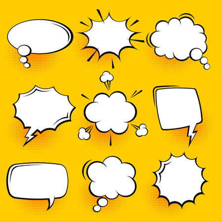 Blank comic speech bubbles with halftone shadows on yellow background. Hand drawn retro cartoon stickers. Pop art style. Vector illustration.