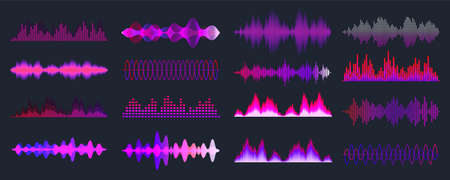 Colorful sound waves collection. Analog and digital audio signal. Music equalizer. Interference voice recording. High frequency radio wave. Vector illustration. Stock Illustratie