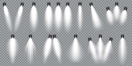 Illuminated studio spotlights collection. Bright light beam. Transparent realistic effect. Stage lighting. Glowing light rays. Vector illustration. Stock Illustratie