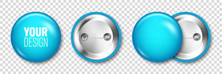 Realistic blue blank badge isolated on transparent background. Glossy 3D round button. Pin badge, brooch mockup for product promotion and advertising. Vector illustration. Stock Illustratie