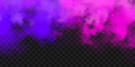 Realistic purple and violet colorful smoke clouds, mist effect. Fog isolated on transparent background. Vapor in air, steam flow. Vector illustration.