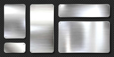 Realistic shiny metal banners set. Brushed steel plate with screws. Polished silver metal surface. Vector illustration. Stock Illustratie