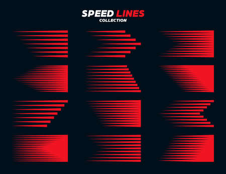 Red comic speed lines signs collection. Motion elements for your design. Vector illustration. Stock Illustratie