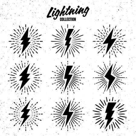 Set of vintage lightning bolts and sunrays on grunge background. Lightnings with sunburst effect. Thunderbolt, electric shock sign. Vector illustration.