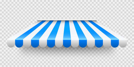 Blue shop sunshade on transparent background. Realistic striped cafe awning. Outdoor market tent. Roof canopy. Summer street store. Vector illustration.