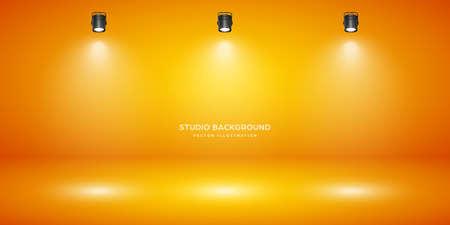 Empty orange studio abstract background with spotlight effect. Product showcase backdrop. Stage lighting. Vector illustration. Stock Illustratie