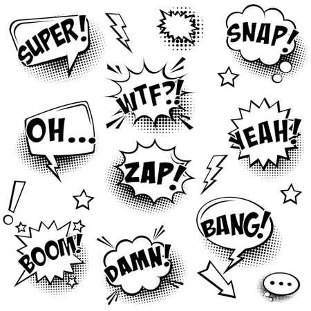 Comic speech bubbles with halftone shadows and text isolated on white background. Hand drawn retro cartoon stickers. Pop art style. Vector illustration.