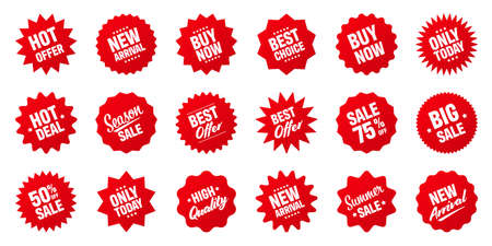 Realistic red tilted price tags collection. Special offer or shopping discount label. Retail paper sticker. Promotional sale badge. Vector illustration. Ilustração Vetorial