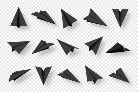 Realistic black handmade paper planes isolated on transparent background. Origami aircraft in flat style. Vector illustration. Stock Illustratie