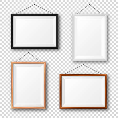 Realistic black, white and wooden picture frames with shadow on checkered background. Hanging on a wall blank poster mockup. Empty photo frame. Vector illustration.