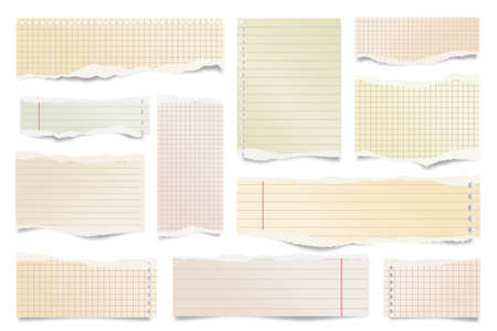 Colorful ripped paper strips isolated on white background. Realistic lined paper scraps with torn edges. Sticky notes, shreds of notebook pages. Vector illustration.