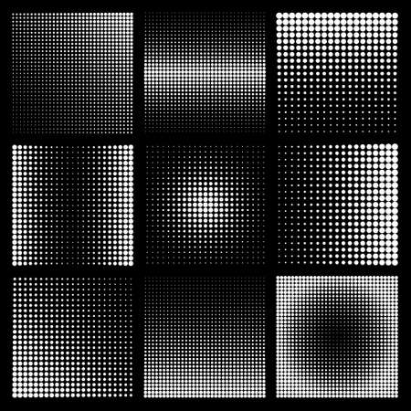 Halftone design elements with white dots on black background. Comic dotted pattern. Vector illustration.