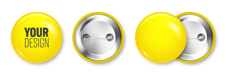 Realistic yellow blank badge isolated on white background. Glossy 3D round button. Pin badge, brooch mockup for product promotion and advertising. Vector illustration.