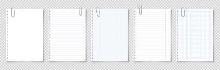 Realistic blank paper sheets in A4 format with metal clip, holder on transparent background. Notebook page, document. Design template or mockup. Vector illustration.