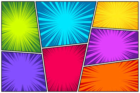 Comic book colorful radial lines collection. Cartoon comics background with motion, speed lines. Retro Pop Art style. Vector illustration.