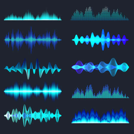Blue colorful sound waves collection. Analog and digital audio signal. Music equalizer. Interference voice recording. High frequency radio wave. Vector illustration. Stock Illustratie