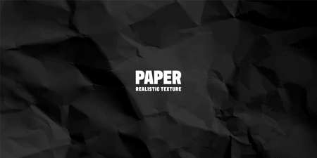 Black crumpled paper texture pattern. Rough grunge old blank. Vector abstract background.