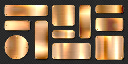 Realistic shiny metal banners set. Brushed steel plate with screws. Polished copper metal surface. Vector illustration.