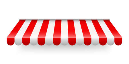 Red shop sunshade isolated on white background. Realistic striped cafe awning. Outdoor market tent. Roof canopy. Summer street store. Vector illustration.