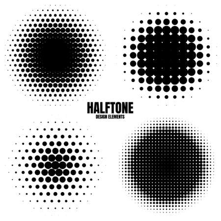 Circle halftone design elements with black dots isolated on white background. Comic dotted pattern.Vector illustration.