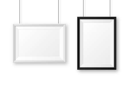 Realistic black and white picture frames with shadow. Hanging on a wall blank poster mockup. Empty photo frame. Vector illustration.