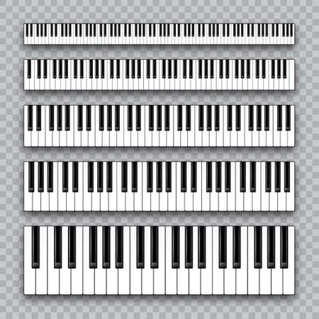 Realistic piano keys collection. Musical instrument keyboard on checkered background. Vector illustration. Vetores