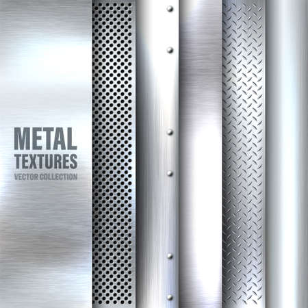Realistic brushed metal textures set. Polished stainless steel background. Vector illustration. Vettoriali