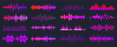 Colorful sound waves collection. Analog and digital audio signal. Music equalizer. Interference voice recording. High frequency radio wave. Vector illustration. Illustration