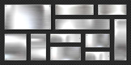 Realistic shiny metal banners set. Brushed steel plate with screws. Polished silver metal surface. Vector illustration. Illustration