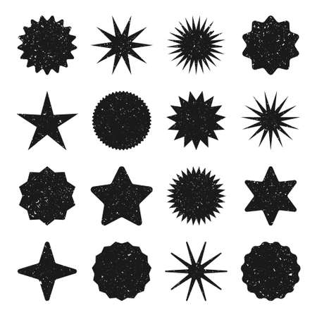 Retro stars, grunge sunburst symbols. Vintage sunbeam icons. Black shopping labels, sale or discount sticker, quality mark. Special offer price tag, promotional badge. Vector illustration.