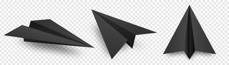 Realistic black handmade paper planes isolated on transparent background. Origami aircraft in flat style. Vector illustration. Illustration