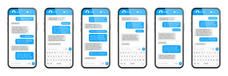 Realistic smartphone with messaging app. SMS text frame. Messenger chat screen with blue message bubbles and placeholder text. Social media application. Vector illustration.
