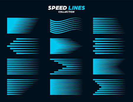 Blue comic speed lines collection. Straight and wavy motion elements for your design. Vector illustration.