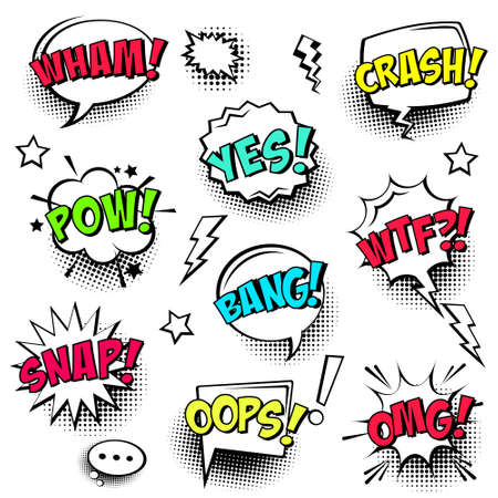 Comic speech bubbles with halftone shadows and colorful text isolated on white background. Hand drawn retro cartoon stickers. Pop art style. Vector illustration.