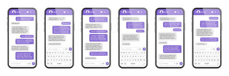 Realistic smartphone with messaging app. SMS text frame. Messenger chat screen with violet message bubbles and placeholder text. Social media application. Vector illustration. Illustration