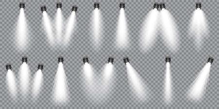 Illuminated studio spotlights collection. Bright light beam. Transparent realistic effect. Stage lighting. Glowing light rays. Vector illustration. Illustration