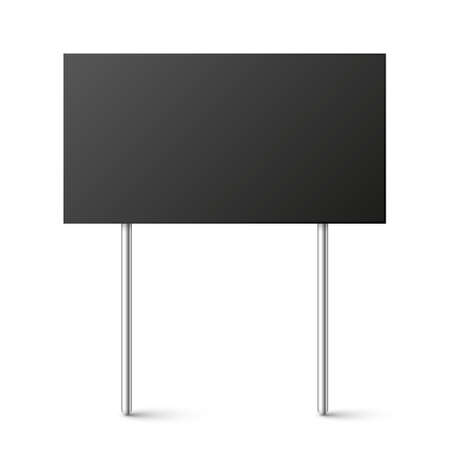 Black blank board with place for text, protest sign isolated on white background. Realistic demonstration or advertising banner. Strike action cardboard placard mockup. Vector illustration.