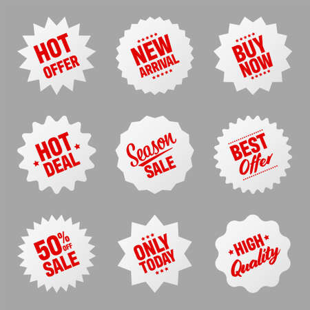 Realistic tilted price tags collection. Special offer or shopping discount label. Retail paper sticker. Promotional sale badge. Vector illustration.